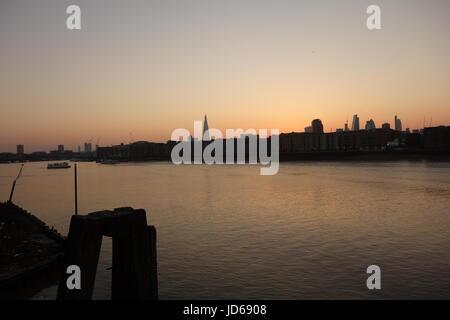 Sunset, Rotherhithe, London, UK - Stock Image