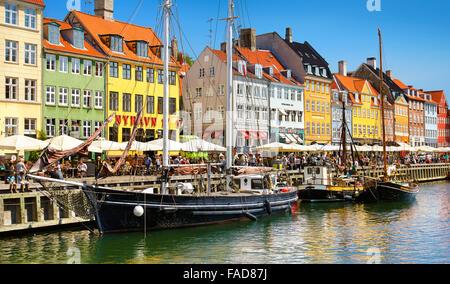Copenhagen old town, Denmark - the boat in Nyhavn Canal - Stock Image