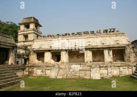 Inner Courtyard of the Palace with Stone Relief Carvings on the Walls, Palenque Archeological Site, Chiapas State, - Stock Image