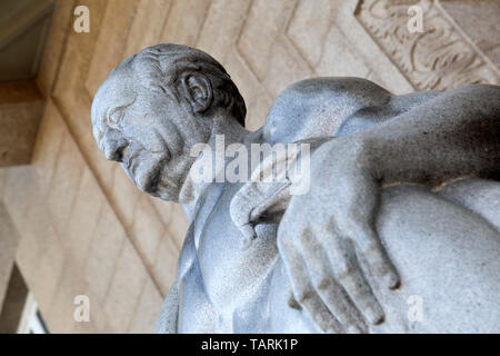 Face of Johann Wolfgang von Goethe on a statue in Wiesbaden, the state capital of Hesse, Germany. The statue is on the steps of the Museum Wiesbaden. - Stock Image