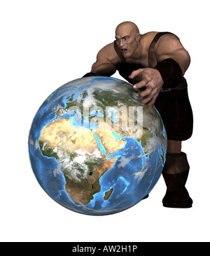 Blacksmith with a globe as a symbol of the change in the world politics - Stock Image