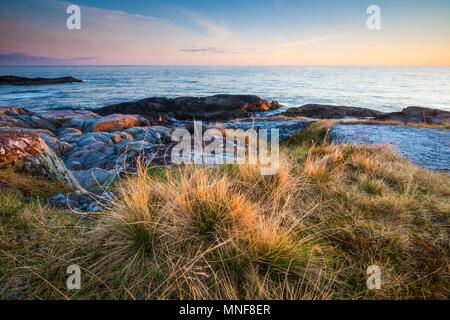 Early morning at the island Runde, Atlantic west coast, Møre og Romsdal, Norway. - Stock Image
