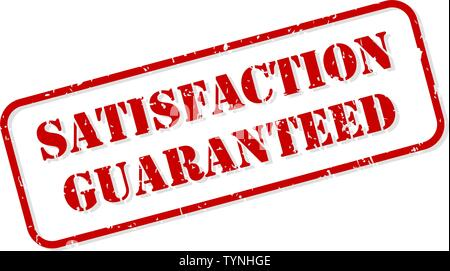 Satisfaction guaranteed red rubber stamp vector isolated - Stock Image