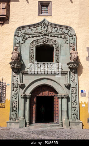 Close-up of the door of the Casa de Colon, Columbus's House, in Las Palmas, Canary Islands, Spain - Stock Image