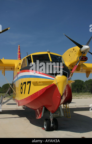Canadair CL-415 '877' water bomber Croatian Air Force viewed from the front - Stock Image