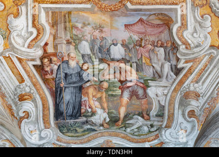 CATANIA, ITALY - APRIL 7, 2018: The vault fresco from live of Saint Benedict in church Chiesa di San Benedetto by Giovanni Tuccari (1667–1743). - Stock Image