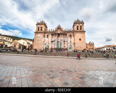 Cusco, Peru - January 2, 2017. View of the Cusco cathedral in the Plaza de Armas of Cusco - Stock Image