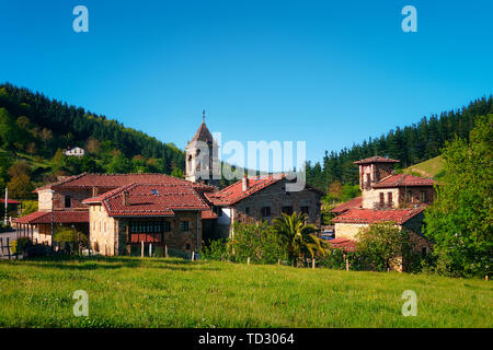 rural landscape in Axpe village in Basque Country - Stock Image