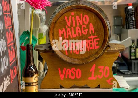 Wine cask in Malaga bar - Stock Image