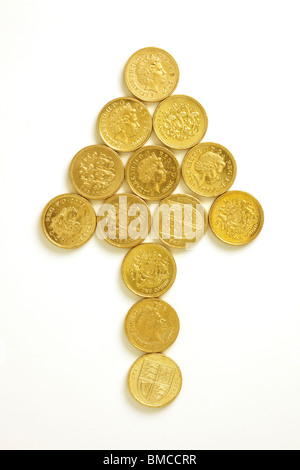 Arrow in Pound Coins - Stock Image
