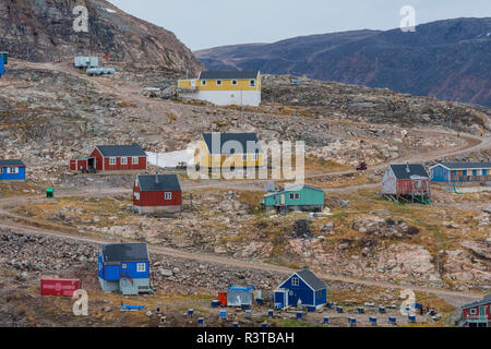 Greenland. Scoresby Sund. Ittoqqortoormiit. Road curving up the hillside. - Stock Image