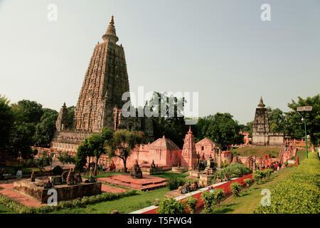 mahabodhi temple,bodhgaya,Bihar state,india - Stock Image
