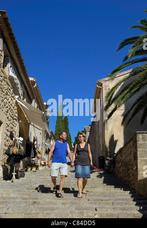 Mallorca, Pollenca, Calvari steps, tourists - Stock Image