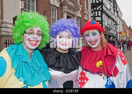 Left to right Jeanette Gethin, Andrea Mulchrome and Debbie Wellecomme dressed up for the Mascot Pancake Race as - Stock Image