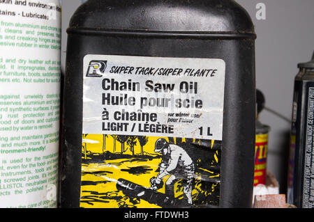 chainsaw chain oil - Stock Image