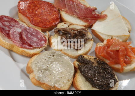 A shot of a set of several different sandwiches - Stock Image
