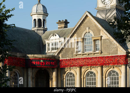 The Guildhall, Market Place, Thetford, decorated with poppies commemorating the centenary of the First World War. Unsharpened - Stock Image