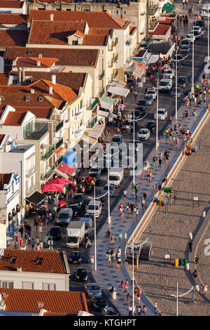 Nazare is one of the most popular seaside resorts in the Portugal's Silver Coast. - Stock Image
