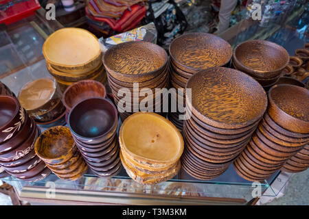 Bowls made of coconut tree and mango tree, Krabi town, Thailand - Stock Image