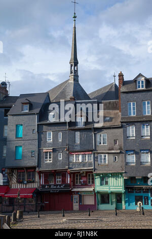 The wooden spire of the the Church of St. Catherine viewed from St. Catherine's Quay. - Stock Image