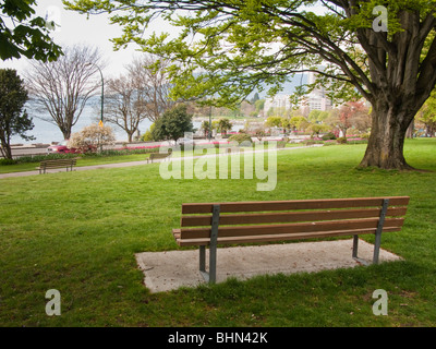 Park bench in the West End with English Bay beyond, Vancouver, BC, Canada - Stock Image