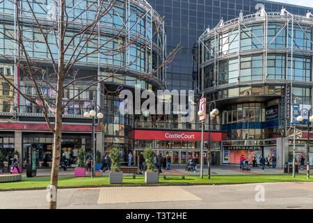 Entrance to the Castle Court Shopping Centre in the centre of Belfast in Northern Ireland. - Stock Image