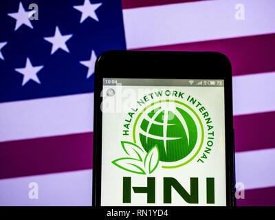 Ukraine. 16th Feb, 2019. HNI Corporation logo seen displayed on a smart phone. Credit: Igor Golovniov/SOPA Images/ZUMA Wire/Alamy Live News - Stock Image