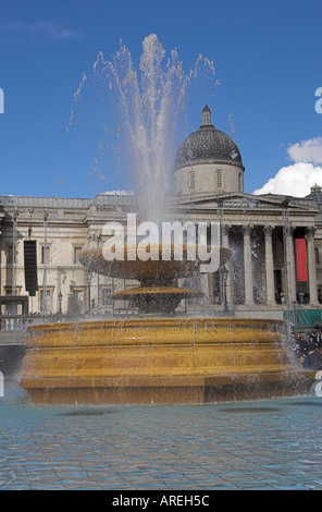 Fountain in Front of the National Art Gallery, Trafalgar Square, London - Stock Image