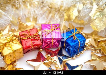 christmas gift boxes - Stock Image