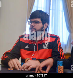 Rio de Janeiro, Brazil - March 21st, 2019: Poker Player wearing a flamengo jersey at the Main Event of the PartyPoker LIVE MILLIONS South America 2019 occuring at the luxurious Copacabana Palace Belmond Hotel in Rio de Janeiro, Brazil from March 15th through March 24th, 2019. Credit: Alexandre Rotenberg/Alamy Live News - Stock Image