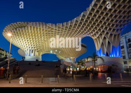 La Setas de Sevilla, Metropol Parasol is a wooden structure located at La Encarnacion square at sunset, Seville, Andalucia, Spain, Europe - Stock Image