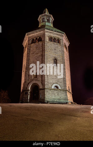 A nighttime shot of Valberg tower (Valbergtårnet), Stavanger, Norway - Stock Image