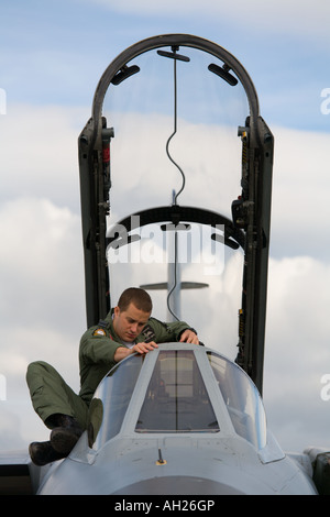 RAF Tornado aircraft cockpit maintenance during airshow in Brno 2007 - Stock Image