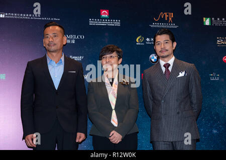 Macao, Macao SAR, China. 8th Nov, 2018. Talent Ambassador, Aaron Kwok (R) joins producer Alvin Chau(L) and Festival Artistic director, Mike Goodridge to launch the program for the 3rd International Film festival and awards Macao, IFFAM. This years oversea talent ambassador will be Nicholas Cage.Maria Helena de Senna Fernandes (M) from the Macau Government tourist office welcomes the guests. Credit: Jayne Russell/ZUMA Wire/Alamy Live News - Stock Image