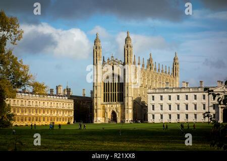 King's College Chapel, Cambridge University in the Autumn. University of Cambridge, UK - Stock Image