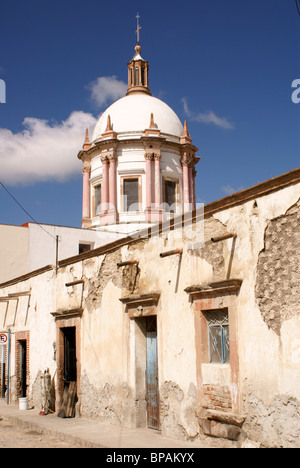 Dome of the Parroquia San Pedro church in the 19th-century mining town of Mineral de Pozos, Guanajuato state, Mexico - Stock Image