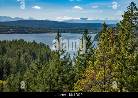 Discovery Passage, Vancouver Island in distance, seen from cliffs at Maude aka Maud Island Trail, Quadra Island, - Stock Image