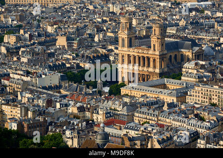 Aerial view on Saint-Sulpice Church and Paris rooftops at sunset (mansard and dormer roofs). 6th Arrondissment, Paris, France - Stock Image