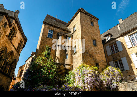 Yellow bricked Buildings, Old, medieval style - Stock Image