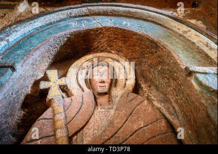 Rock hewn monolithic church of Bet Golgotha (House of Golgotha Mikael), known for its arts and said to contain the tomb of King Lalibela) in Lalibela  - Stock Image