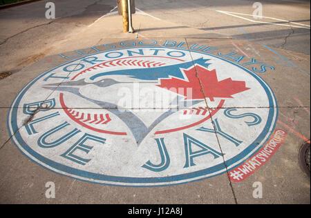Toronto, Canada - NOVEMBER 01,2016: Sign of Toronto Blue Jays logo on the city - Stock Image