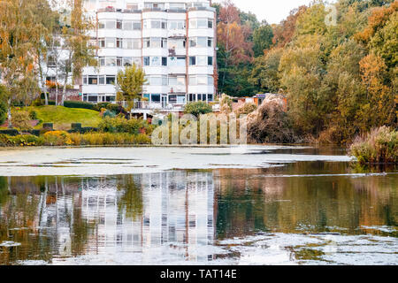 Waterfront apartment in Hampstead Heath of London with reflection from the pond - Stock Image