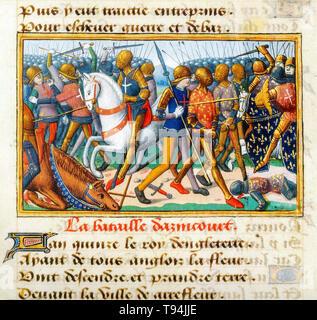 Battle of Agincourt, illustrated manuscript c. 1484 - Stock Image