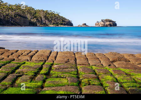 View of Tessellated Pavement in Pirates Bay, Tasmania. - Stock Image