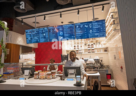 Inside the new NUTELLA CAFE on University Place near Union Square Park in lower Manhattan, New York City. - Stock Image