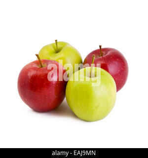 Four apples, green and red isolated on white - Stock Image