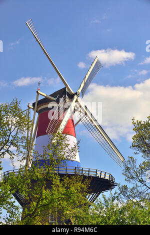 The De Valk windmill in the centre of the town of Leiden dressed in the colours of the Dutch flag on King's Day, Holland, Netherlands - Stock Image