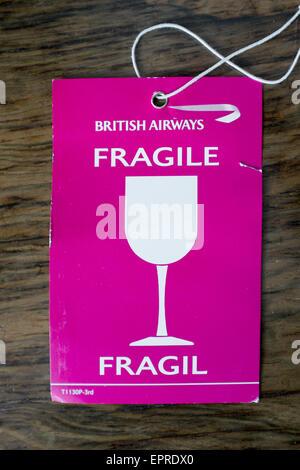 British Airways Fragile Luggage Tag - Stock Image