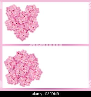 St. Valentine s Day. Set Decorative sakura flowers, bouquet, in the form of a heart, design elements. Can be used for cards, invitations, posters. illustration - Stock Image