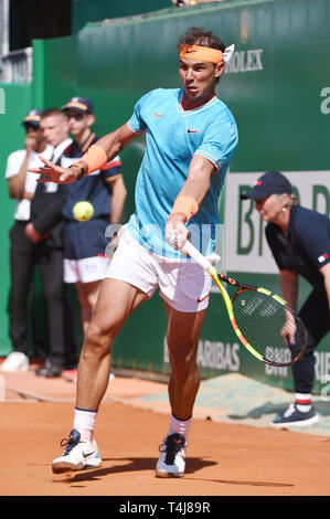 Roquebrune-Cap-Martin, France. 17th Apr, 2019. Rafael Nadal (ESP) Tennis : Men's Singles 2nd Round match during Monte Carlo Masters at Monte Carlo Country Club in Roquebrune-Cap-Martin, France . Credit: Itaru Chiba/AFLO/Alamy Live News - Stock Image